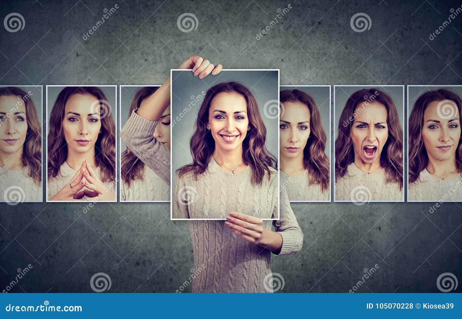 Gemaskeerde jonge vrouw die verschillende emoties uitdrukken