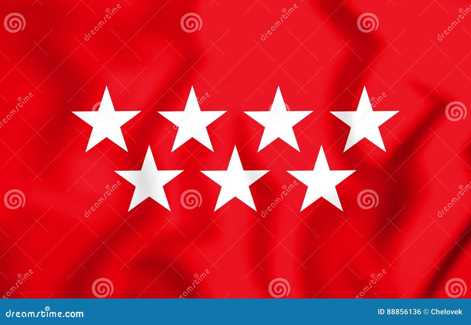 Gemeinschaft 3D Von Madrid Flagge, Spanien Stock Abbildung