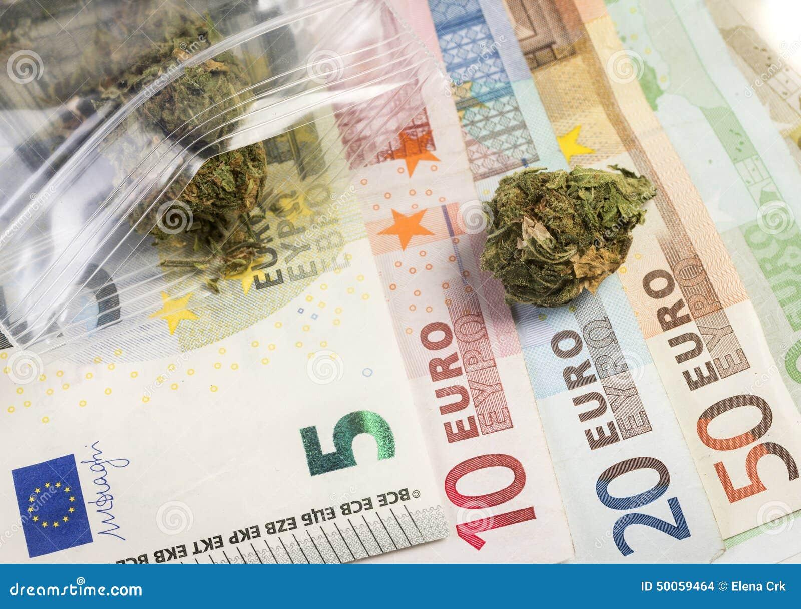 Gemengde euro waarde en geneeskrachtige marihuana