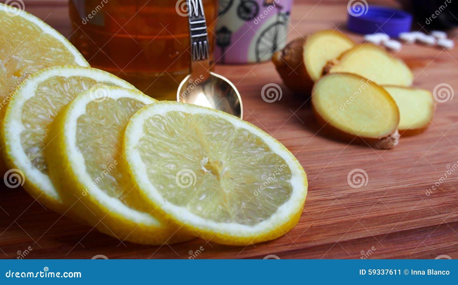 Gemensam Bot För Gemensam Förkylning Citron Ingefära Honung