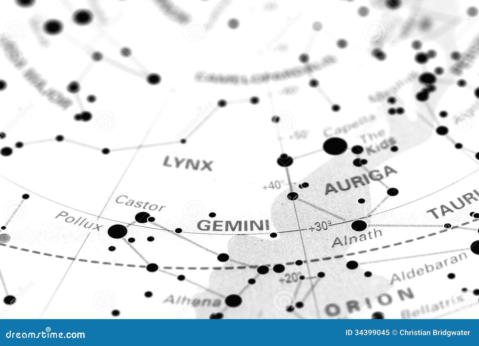 Gemini on star map stock image  Image of astronomy, dash - 34399045