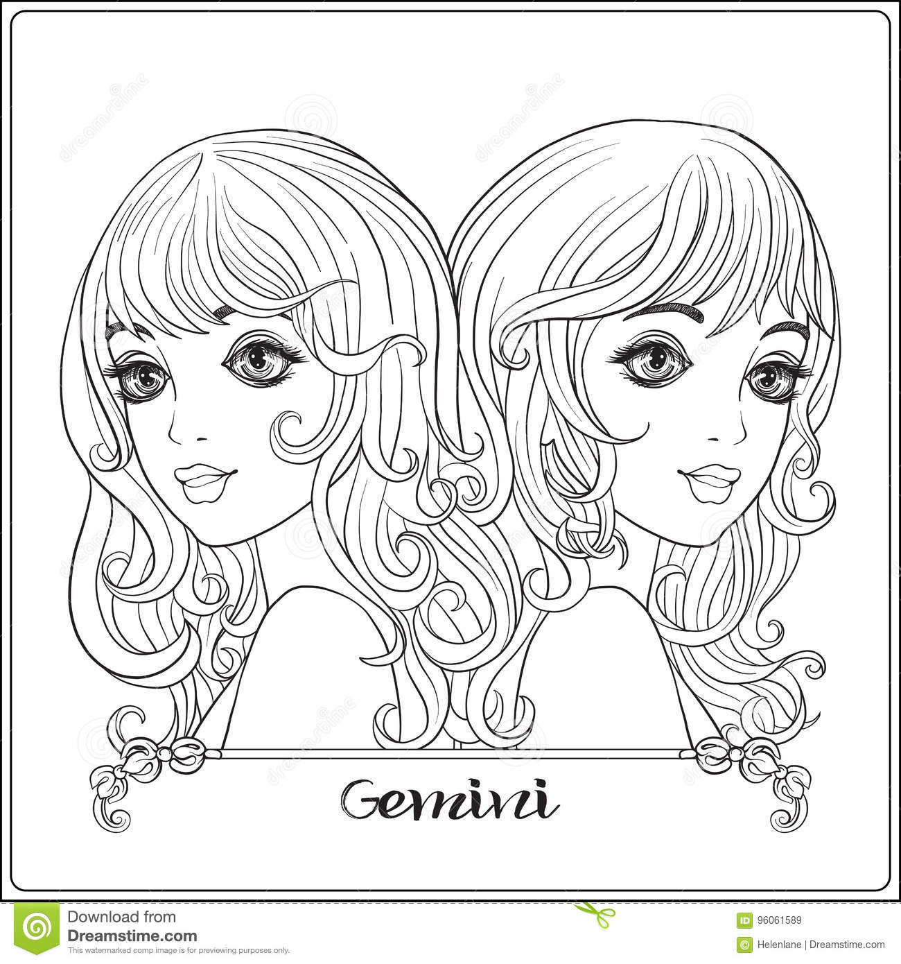 Gemini twins a young beautiful girls stock vector for Gemini coloring pages