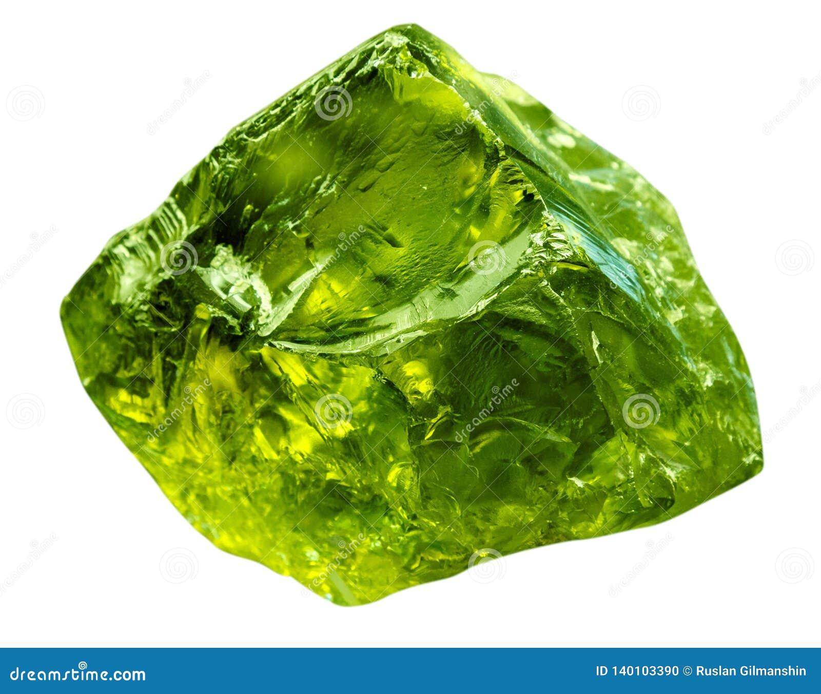 Gemma verde smeraldo minerale Pietra preziosa verde di roccia preziosa isolata su fondo bianco Brillante crudo brillante traspare