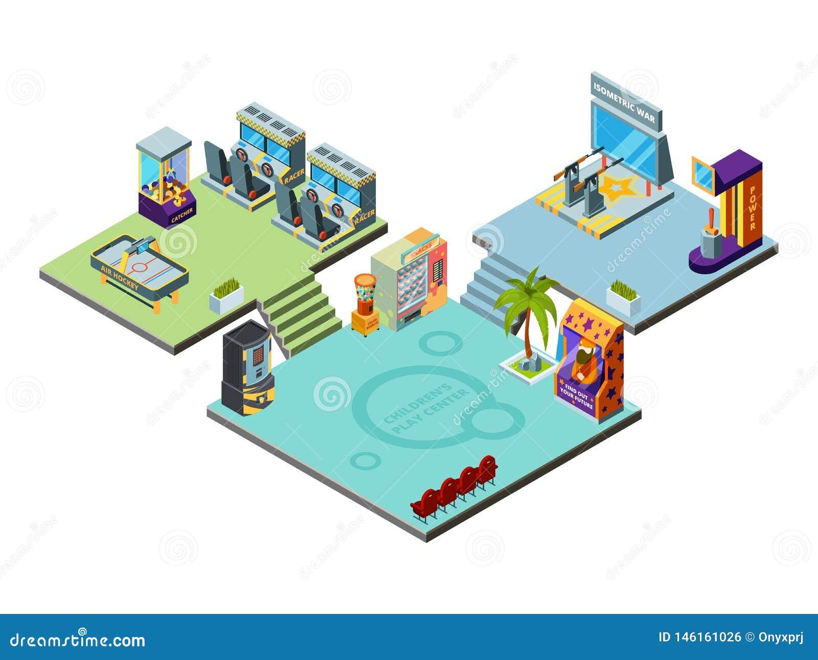 Gemowy centrum Park rozrywki dla dzieciaków bawić się gemowych maszyn arkady symulanta setkarza pinball bokserskiego wektor isome