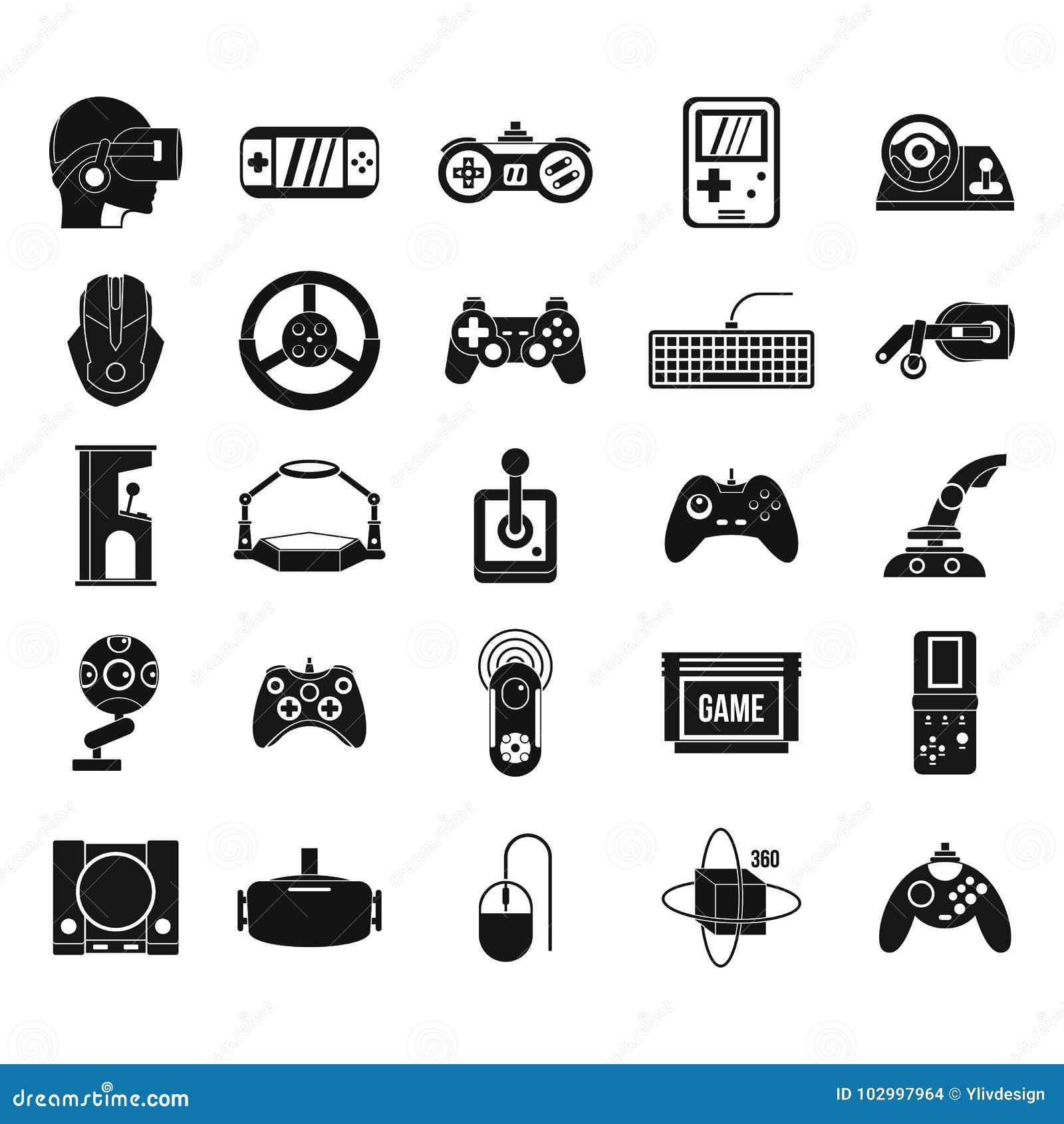 Gemowy konsoli ikony set, prosty styl