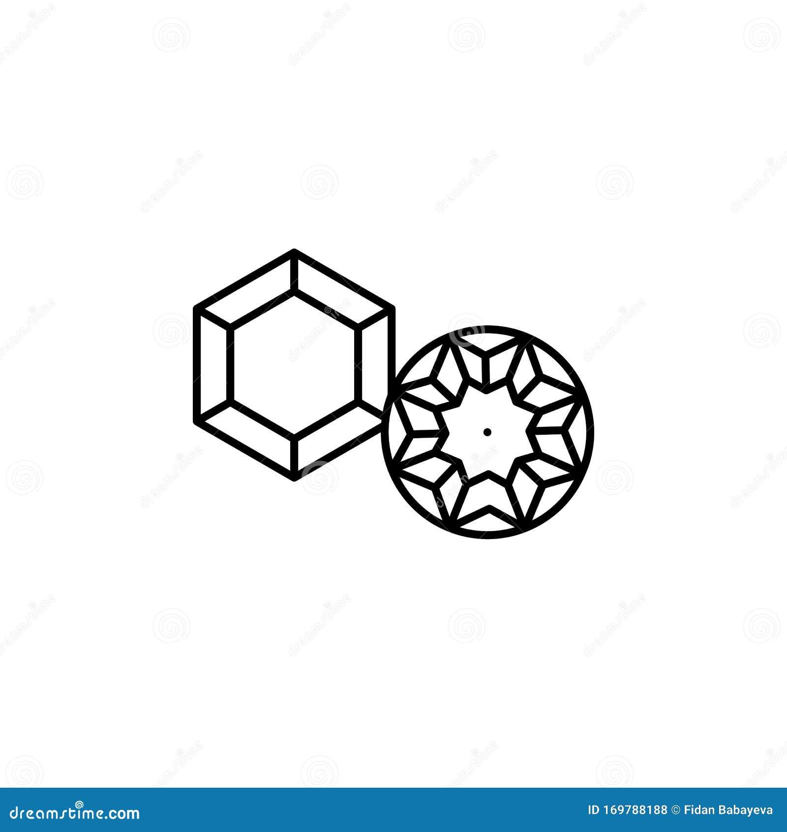 Crystal Gems Logo Icon:  Gems , Diamond Line Icon . Elements Of Wedding Illustration