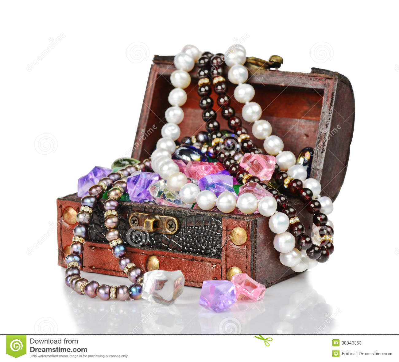 Gems In The Open Wooden Chest Stock Image Image Of