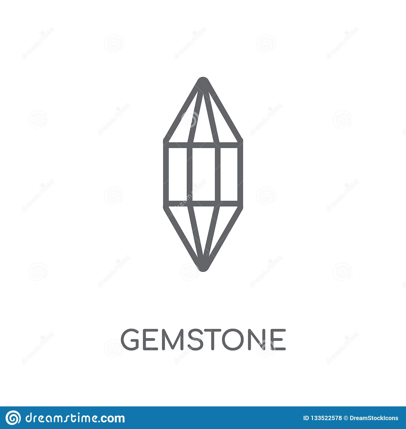 Crystal Gems Logo Icon: Gemstone Linear Icon . Modern Outline Gemstone Logo Concept