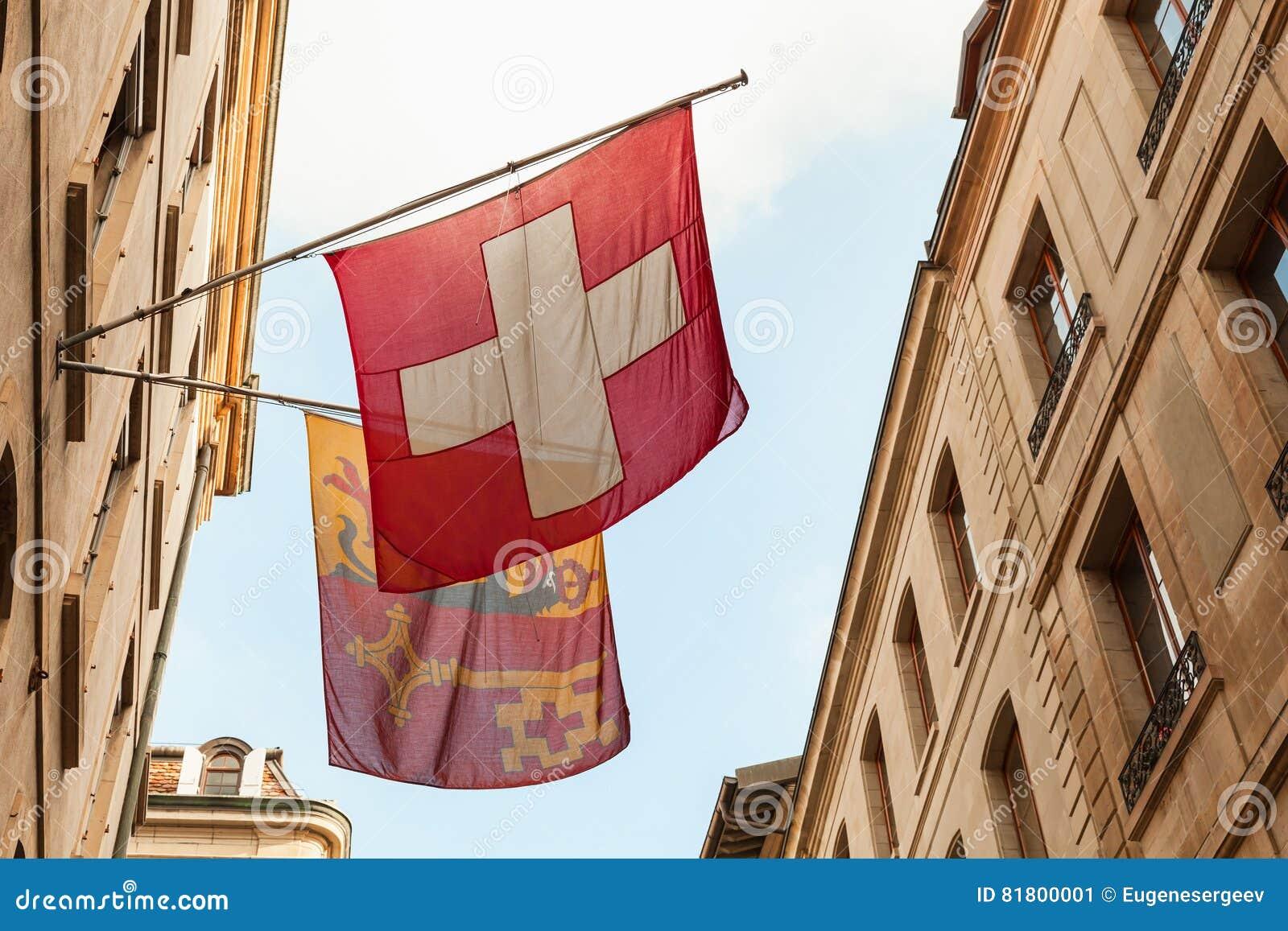 Genève Drapeaux suisses de ressortissant et de ville