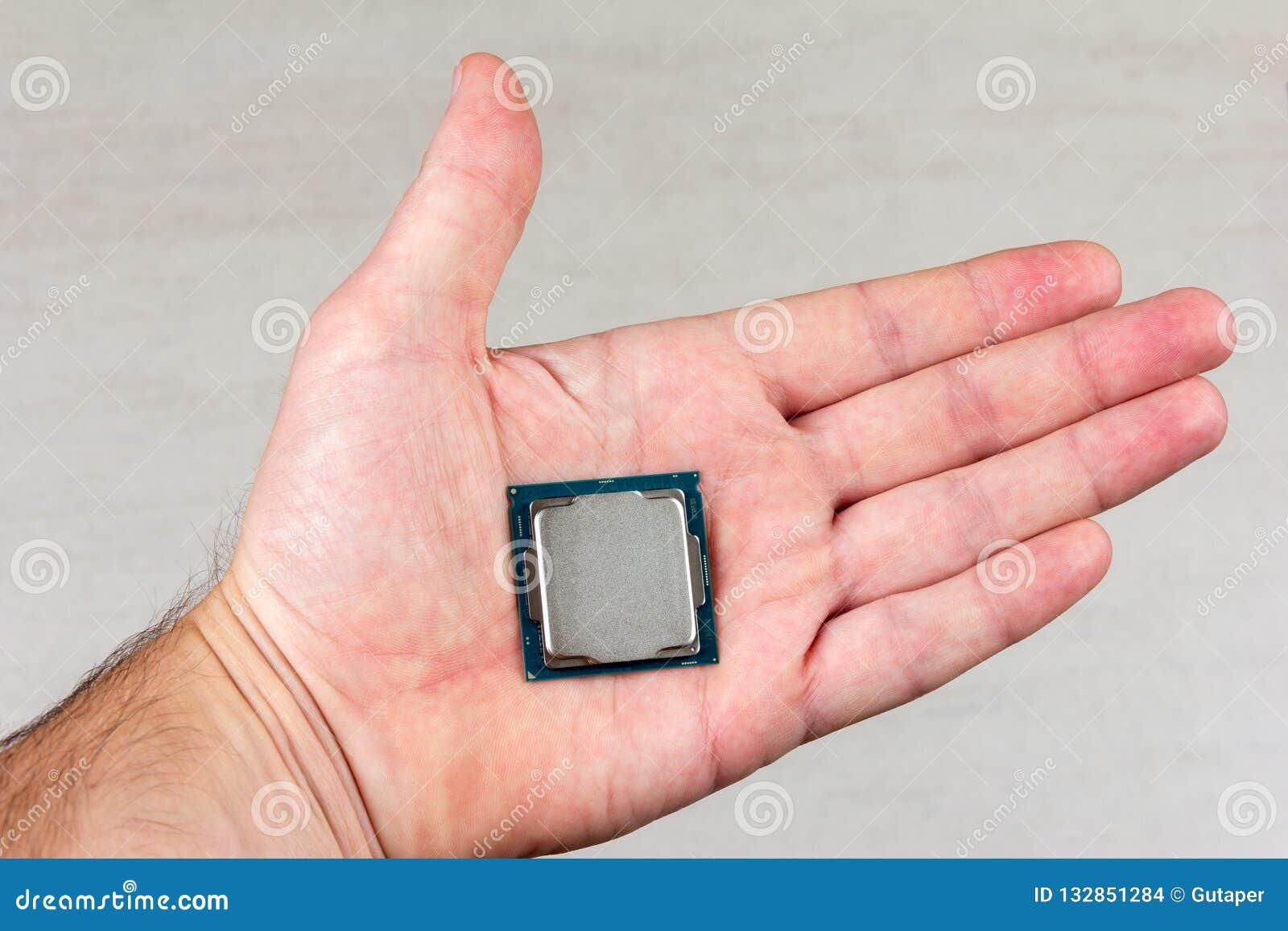 8. GEN des Tischplattenprozessors auf einer männlichen Palme auf grauer Hintergrundnahaufnahme
