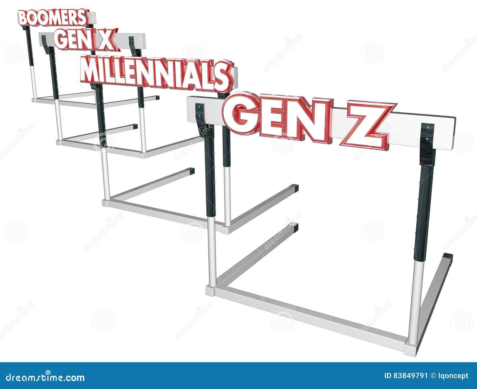 GEN Z Hurdles de la génération X Millennials de boomers