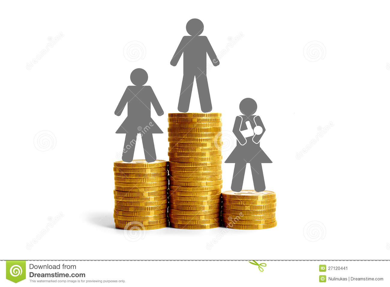 gender differences in salaries stock illustration image