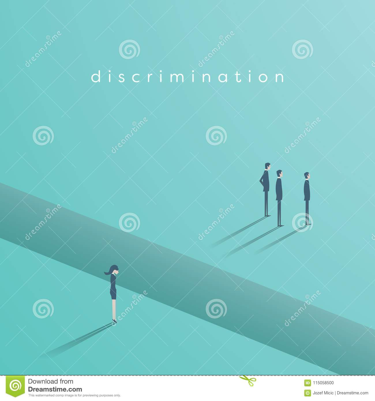 Gender discrimination in business vector concept with businesswoman and businessmen separated by gap. Sex inequality