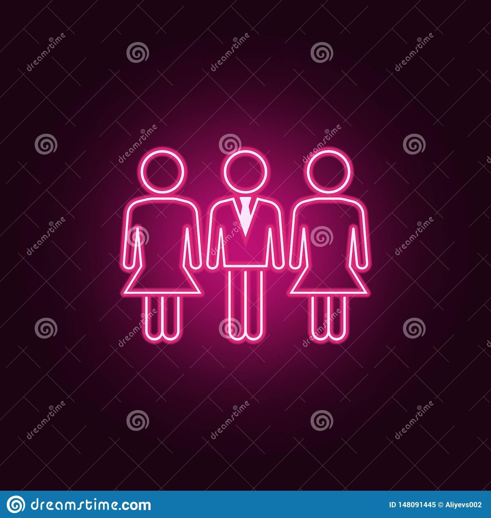 gender equality at workneon icon. Elements of People set. Simple icon for websites, web design, mobile app, info graphics