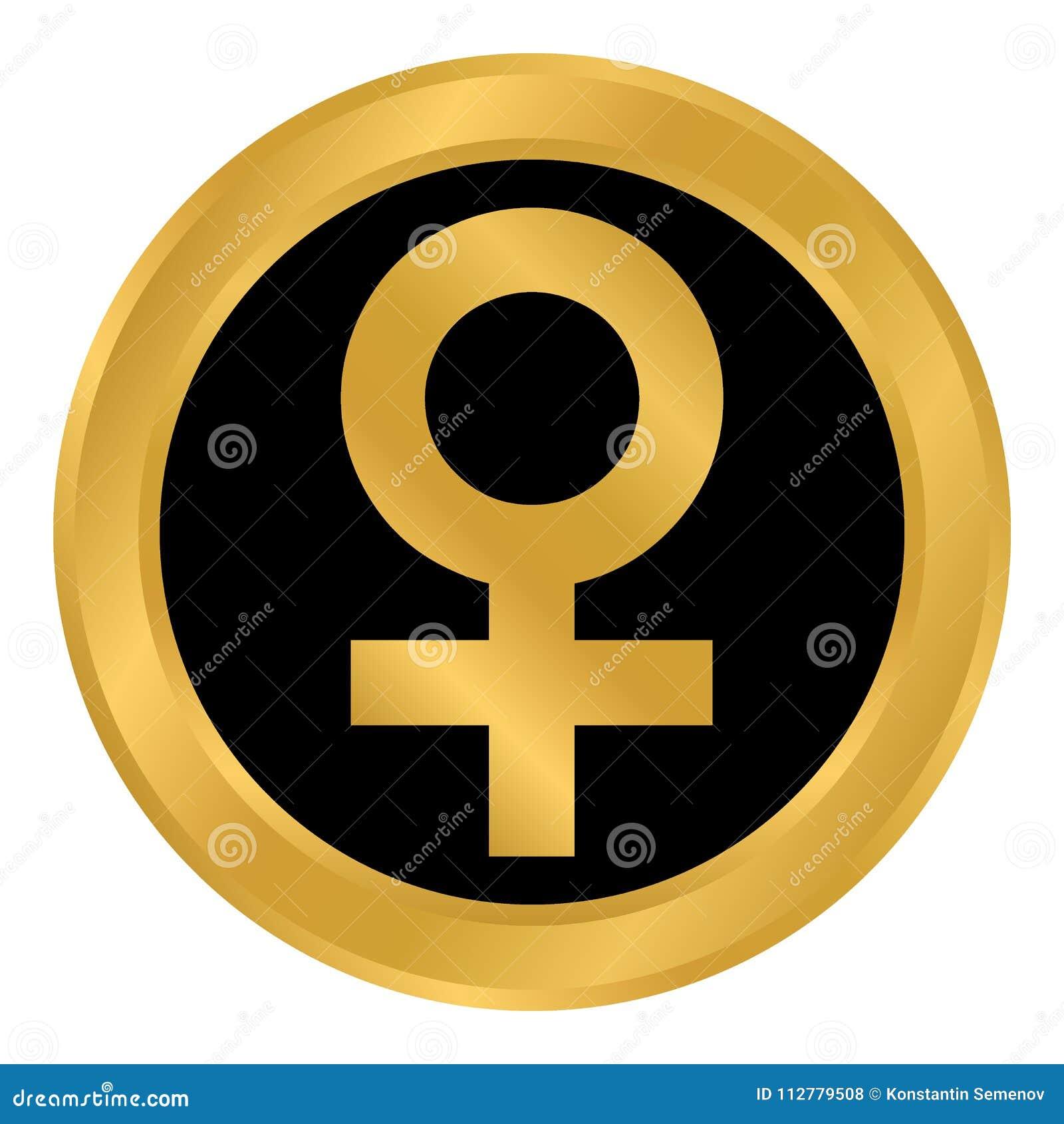 Gender Female Symbol Button Stock Illustration Illustration Of