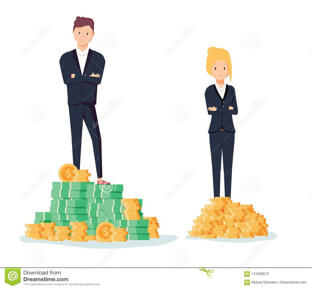 Gender gap and inequality in salary, pay vector concept. Businessman and businesswoman on piles of coins.