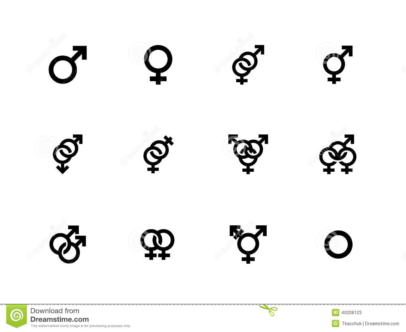 gender identities icons on white background stock vector