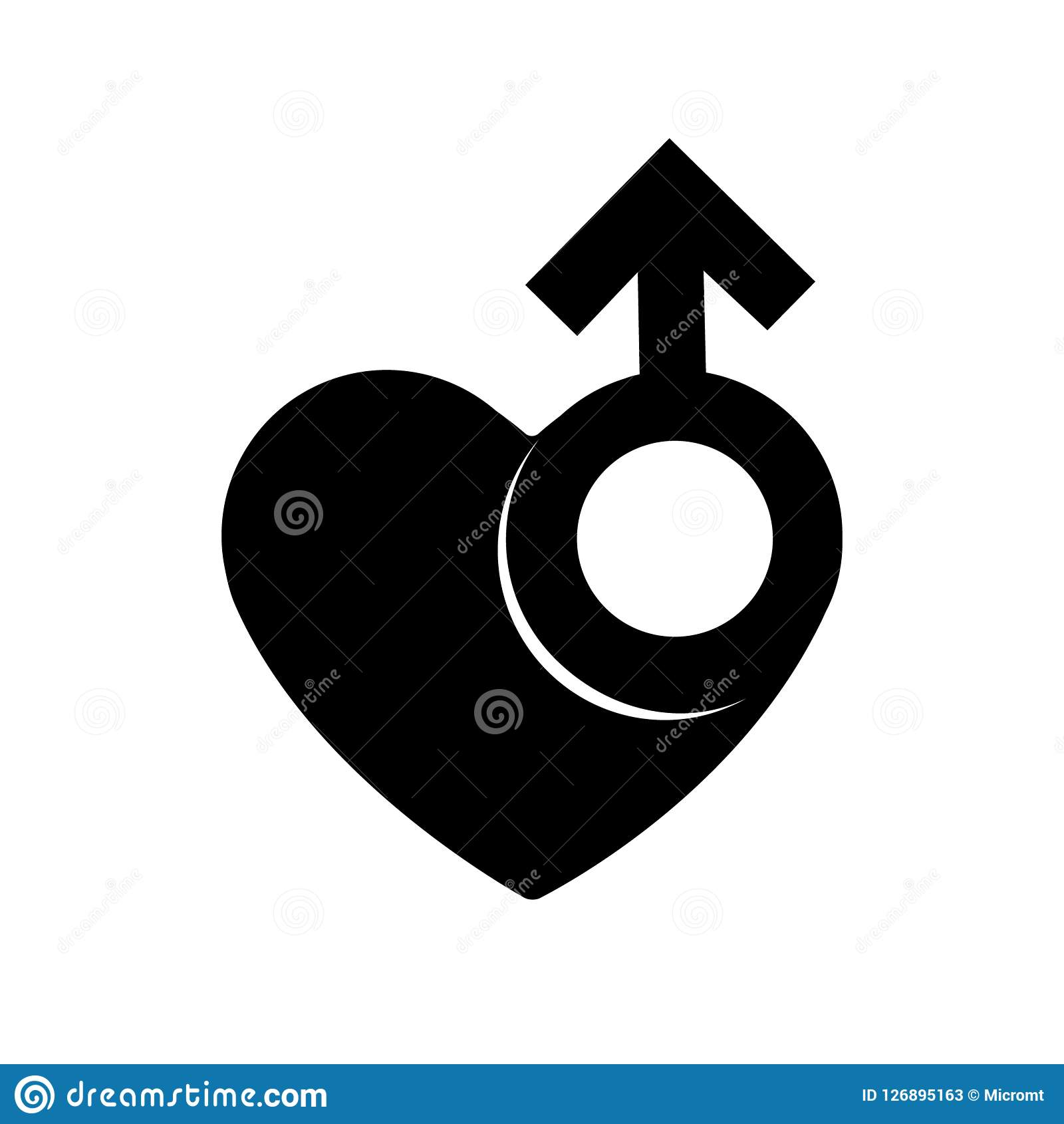 Gender men signs in black heart icon. A symbol of love. Valentines Day. Flat style for graphic design, logo. A lot of soot. A happ