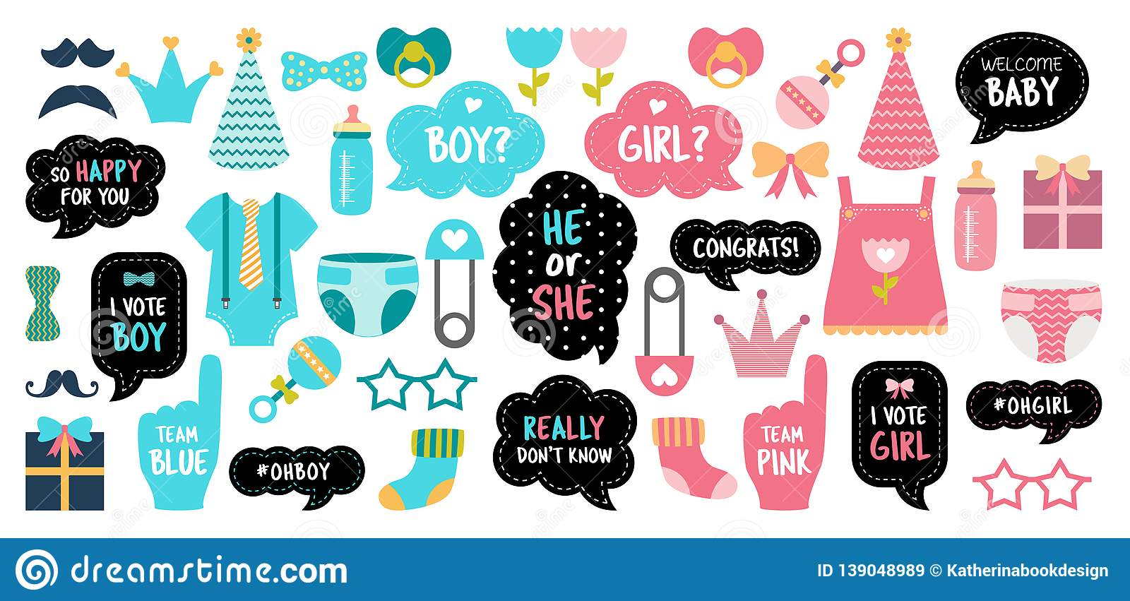 Gender Reveal Baby Shower Photo Booth Props Stock Vector