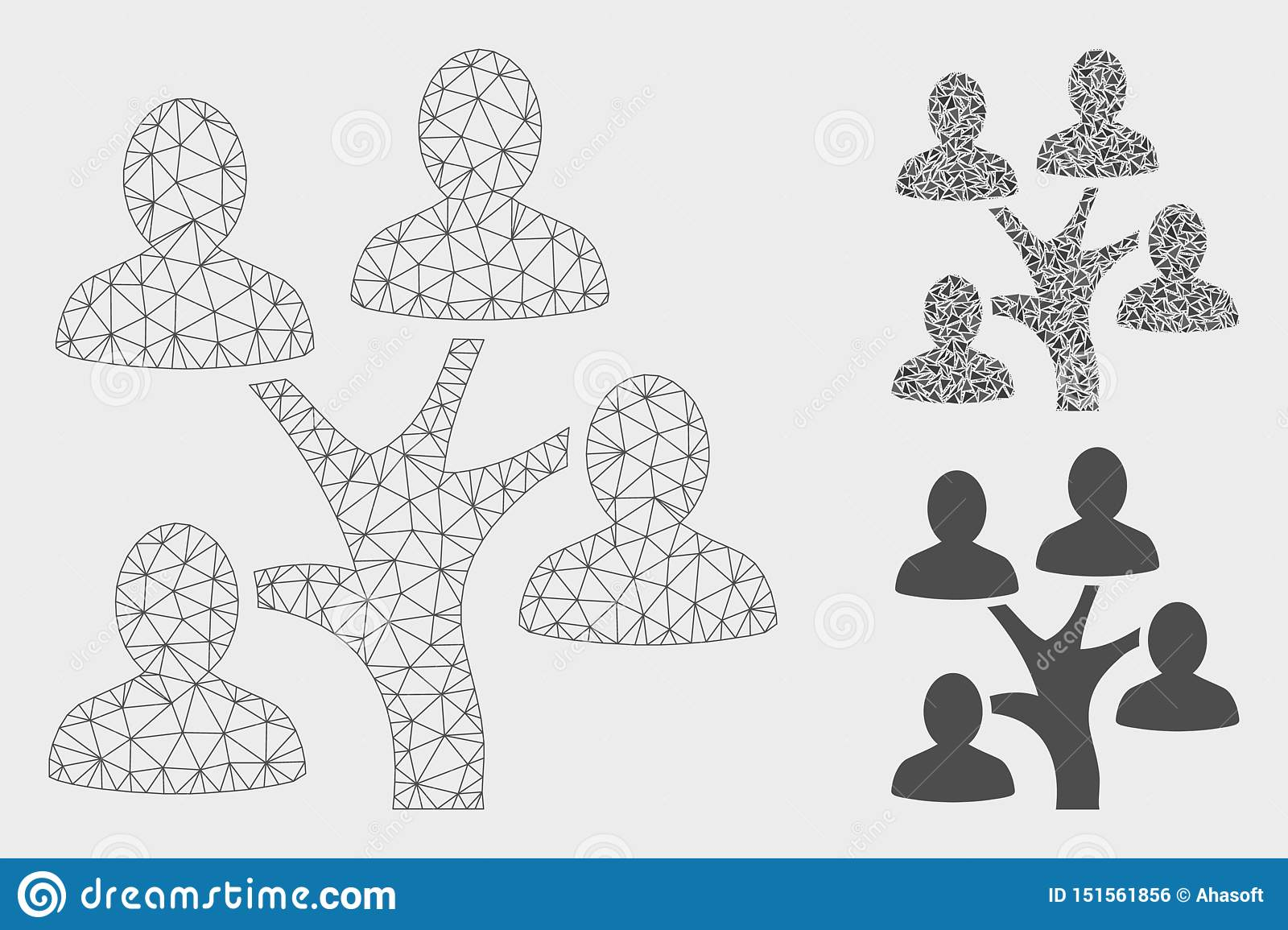 Genealogy Tree Vector Mesh Carcass Model and Triangle Mosaic Icon