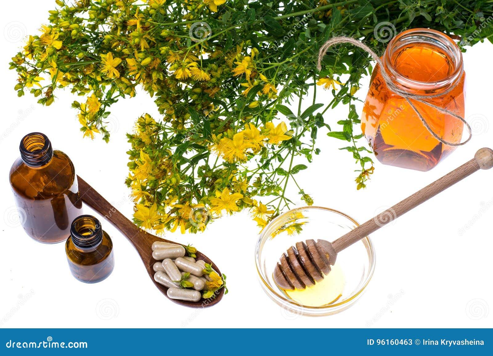 Geneeskrachtige kruiden, honing, natuurlijke capsules en pillen in geneeskunde