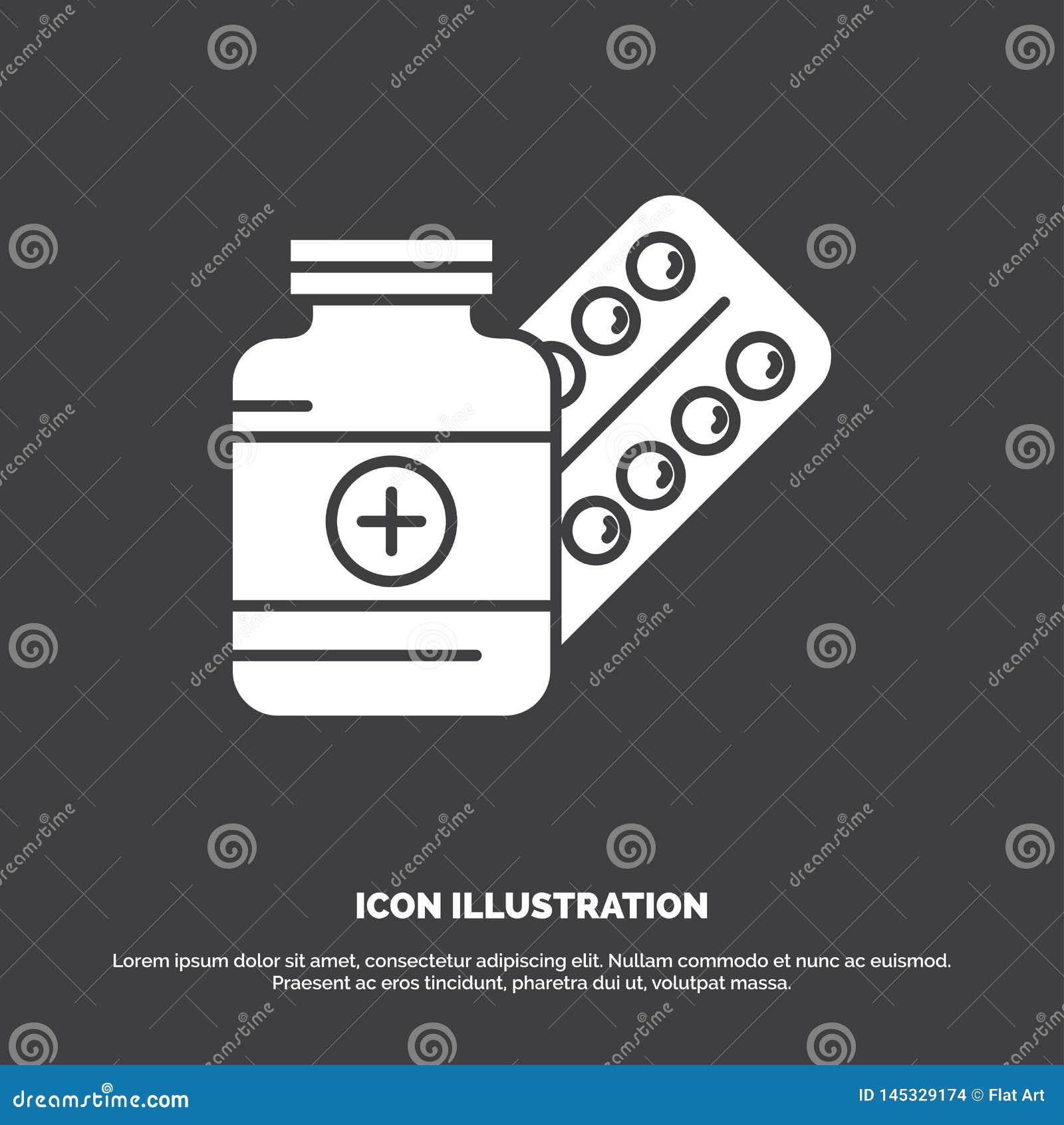 Geneeskunde, Pil, capsule, drugs, tabletpictogram glyph vectorsymbool voor UI en UX, website of mobiele toepassing