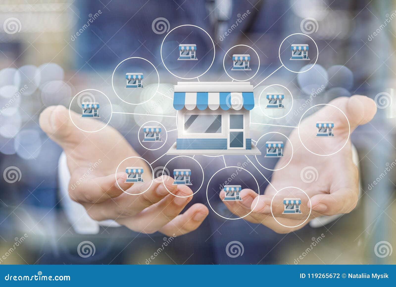 Genehmigen Sie Marketingsystem in den Händen eines Geschäftsmannes
