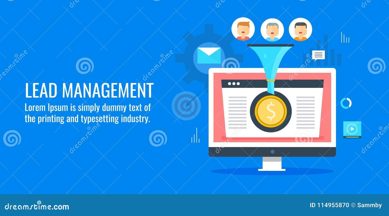 Generación de la ventaja - gestión - optimización de la conversión, embudo digital de las ventas Bandera plana del vector del dis