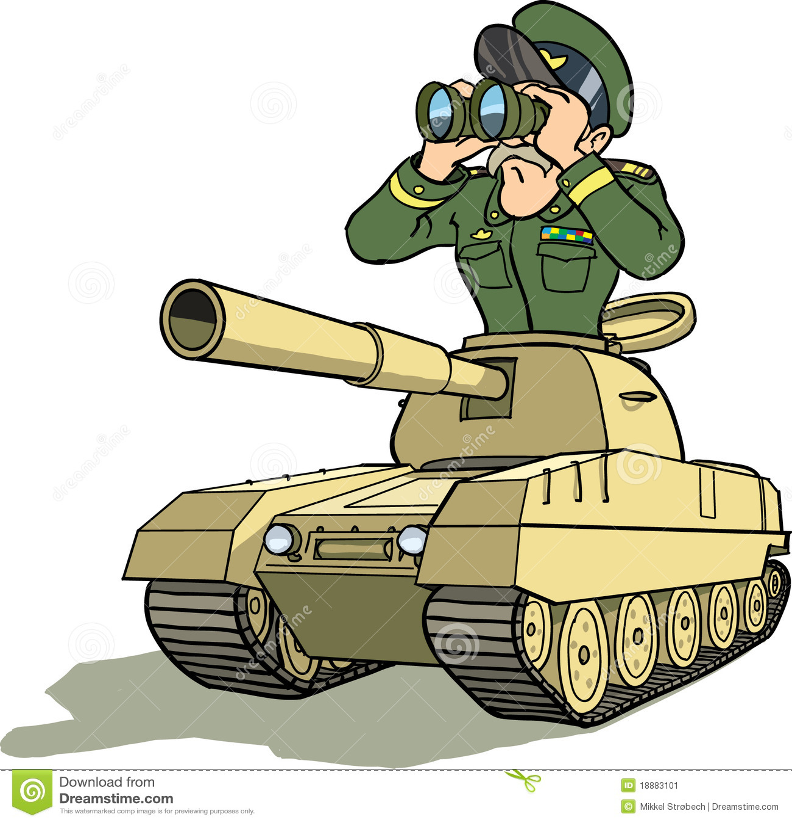Download General in battletank stock vector. Illustration of fight - 18883101
