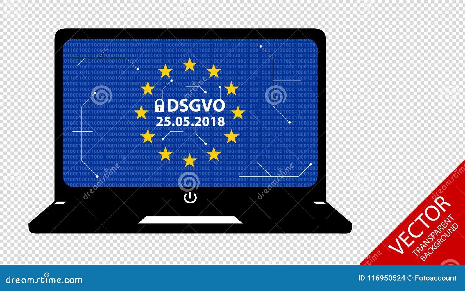 General Data Protection Regulation German Mutation: Datenschutz Grundverordnung DSGVO - Bits And Circuit Diagram On Notebook