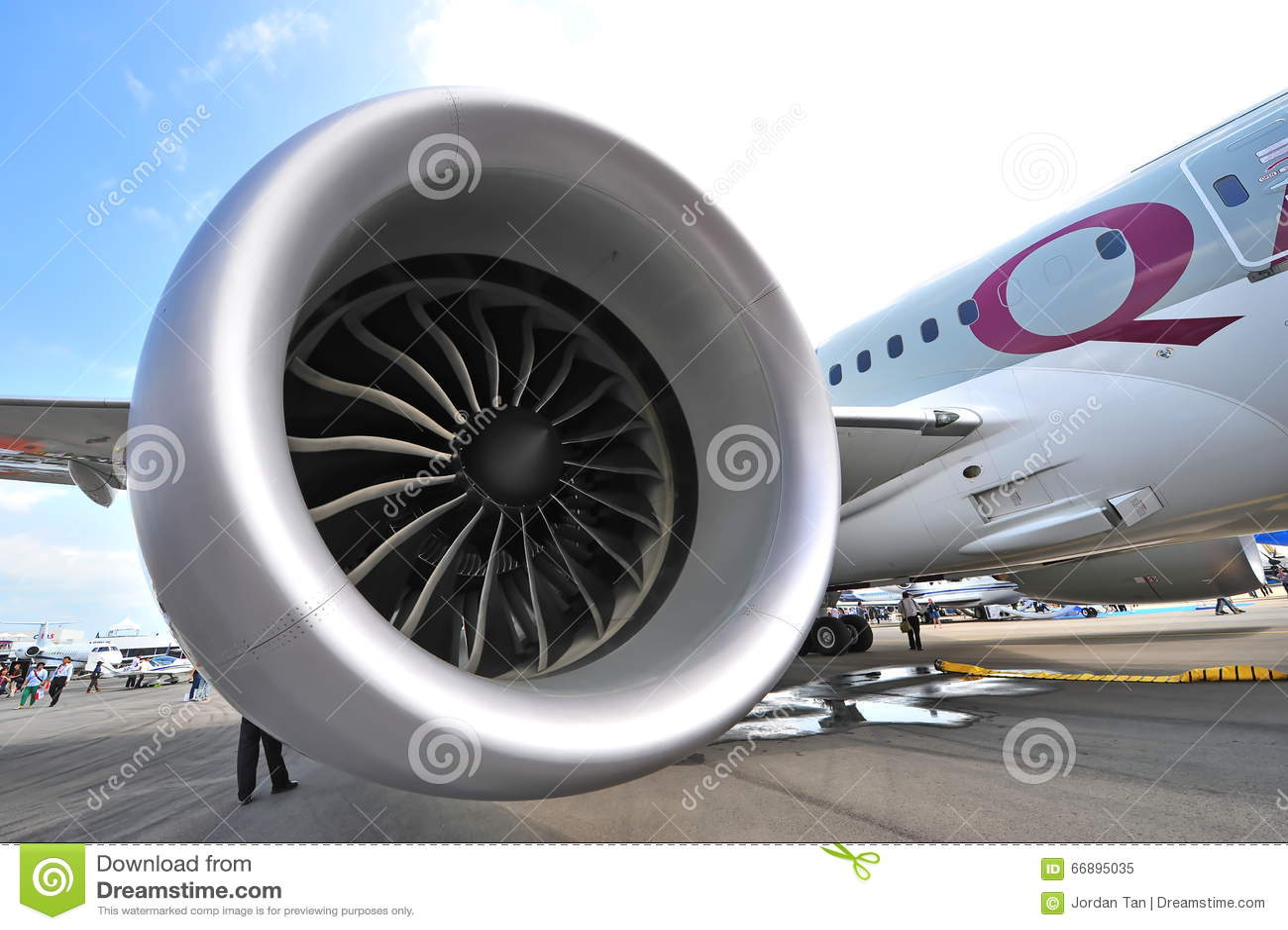 General Electric GEnx engine powering the Qatar Airways Boeing 787-8 Dreamliner at Singapore Airshow