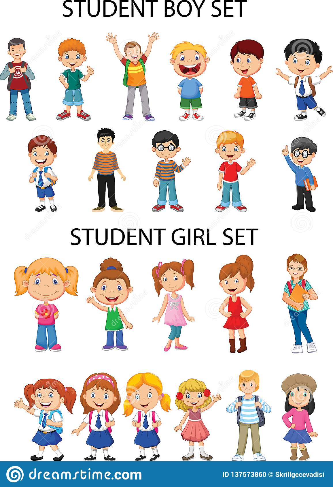 General Materials Girl And Boy Figures Stock Vector
