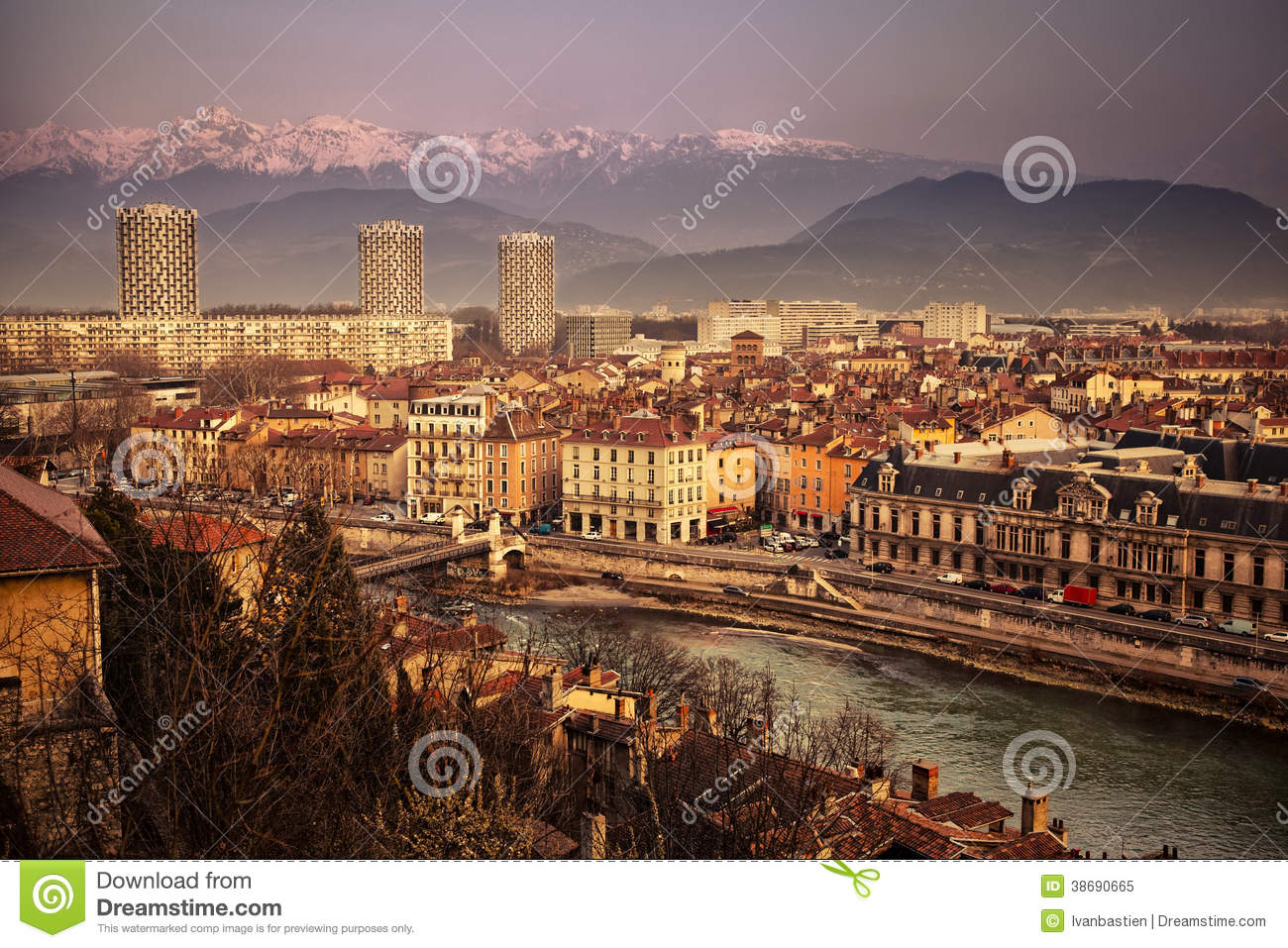 general view of grenoble in isere france royalty free stock photo image 38690665. Black Bedroom Furniture Sets. Home Design Ideas