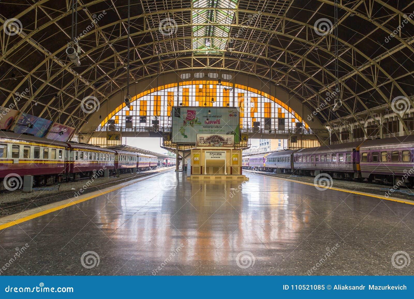 General view of Hua Lamphong station, the main railway station in Bangkok, Thailand.