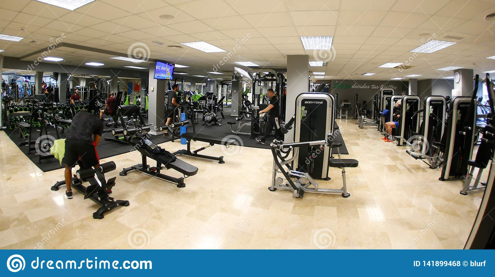 General view on lifts and halteres area on a gym detail editorial