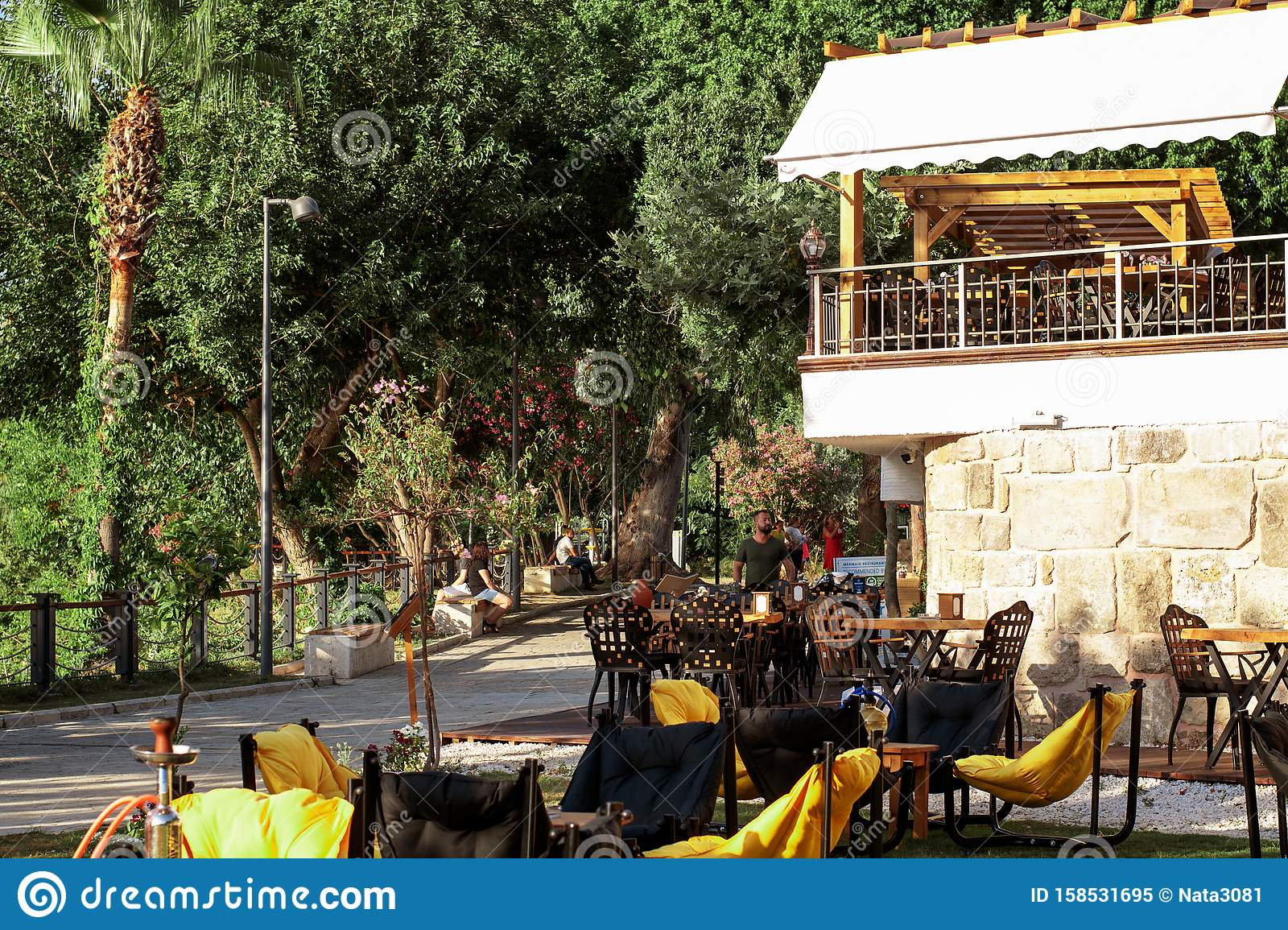 General View Of The Restaurant With A Summer Terrace In Summer A Menu Bar The Interior Of The Summer Cafe Summer Rest Stock Image Image Of Garden Cafe 158531695