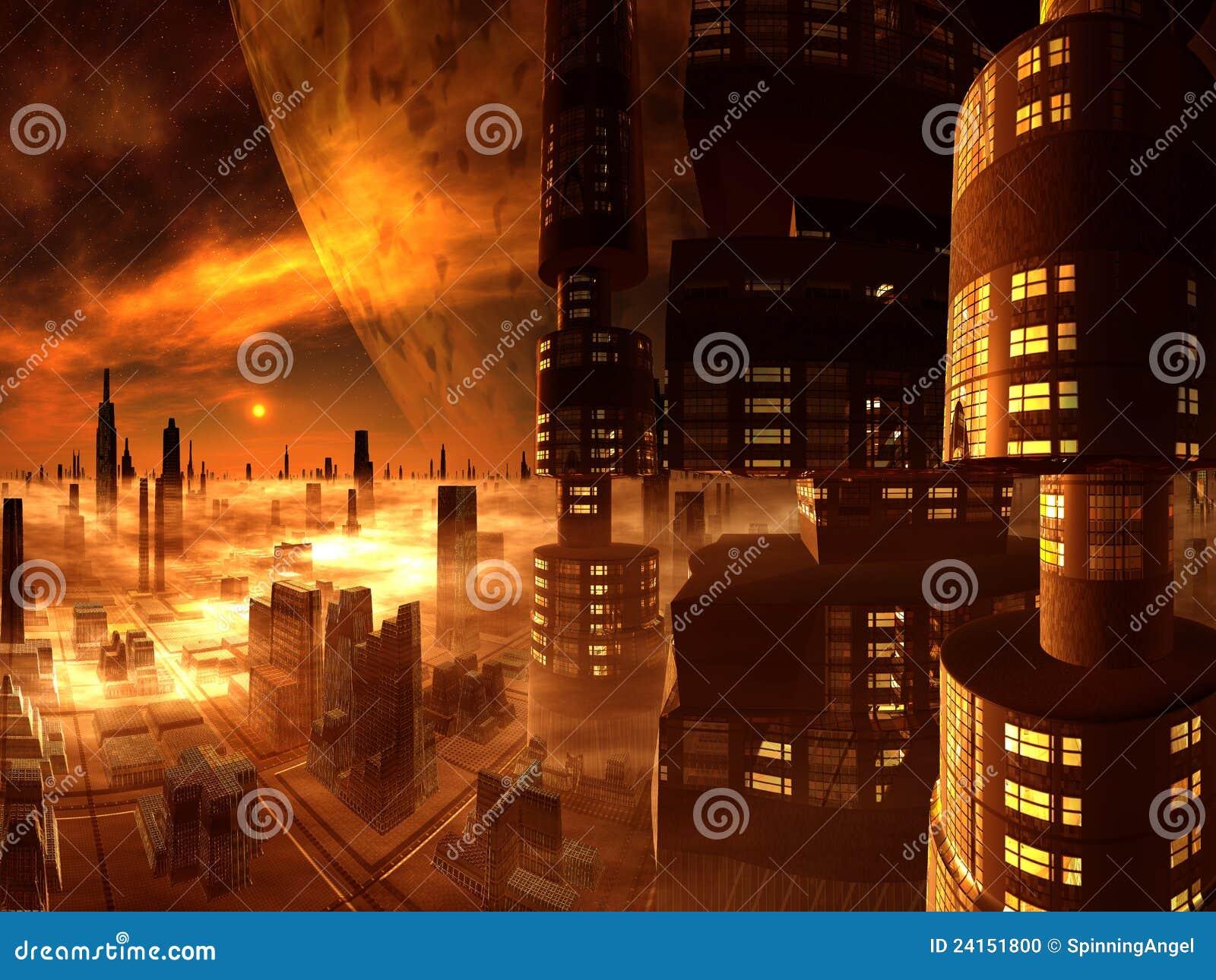 Generalità della città futura dalla torretta del grattacielo