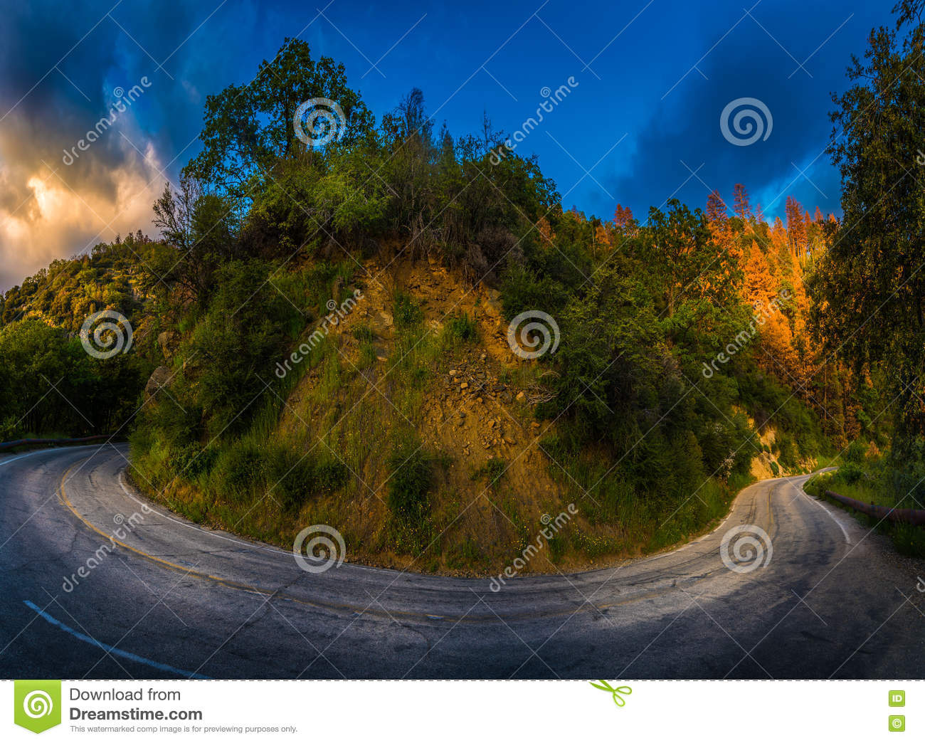 Generals Highway California Stock Image - Image of colorful
