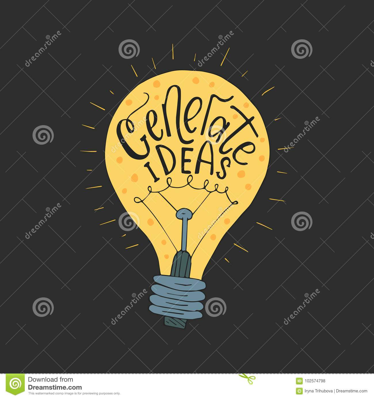 Generate Ideas  Business Vector Llustration With Lightbulb