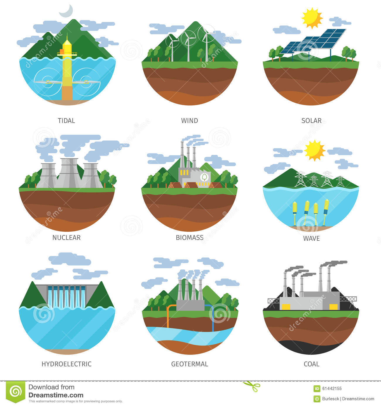 Stock Illustration Generation Energy Types Power Plant Icons Vector Set Renewable Alternative Solar Tidal Wind Geothermal Biomass Wave Image61442155 on Hydro Resources