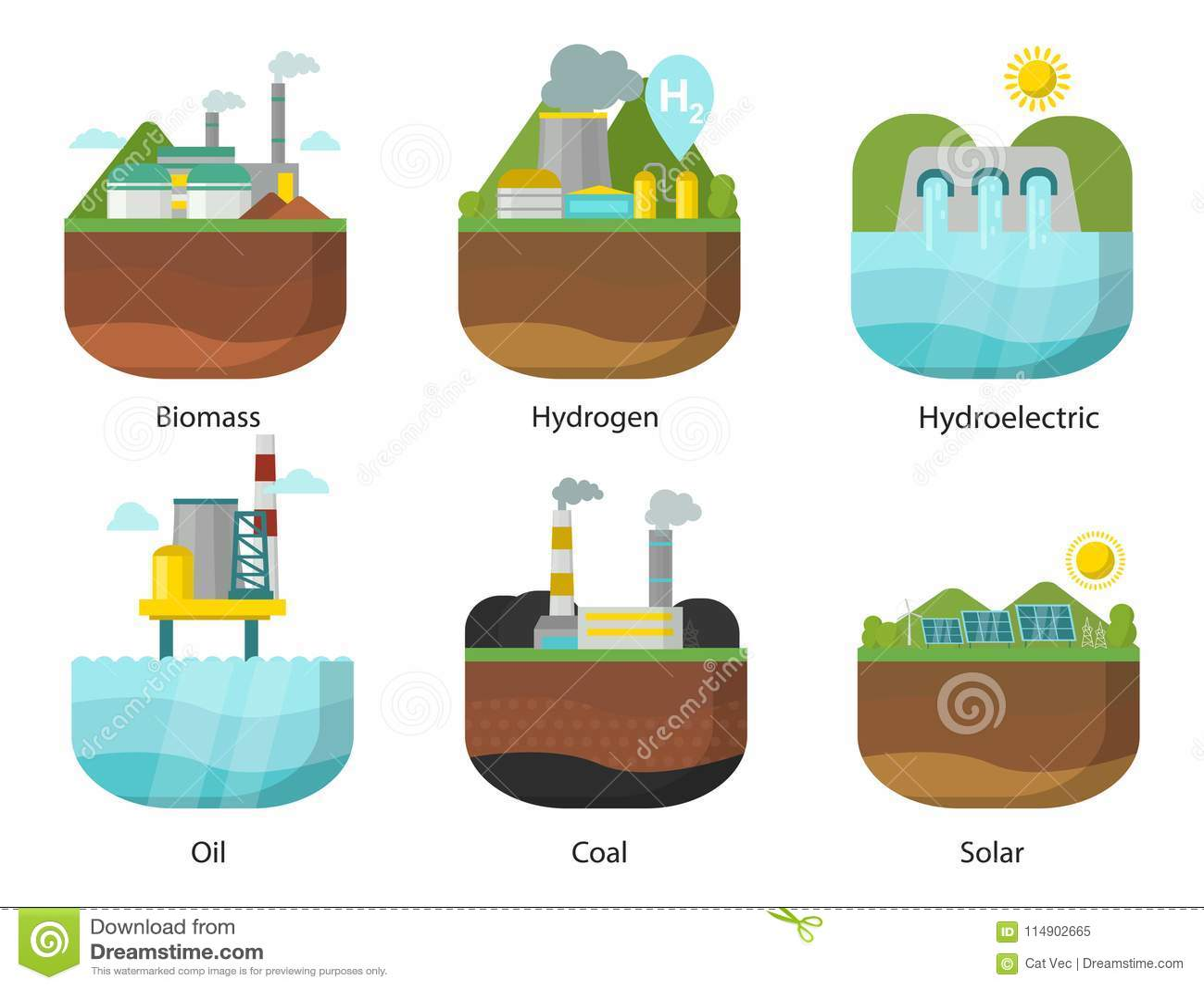 Generation Energy Types Power Plant Vector Renewable Alternative Hydrogen Diagram Download Source Solar And Tidal Wind
