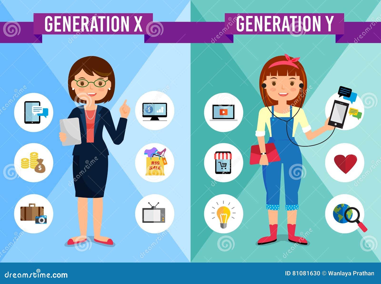 generation x generation y cartoon character stock vector generation x generation y cartoon character stock photo