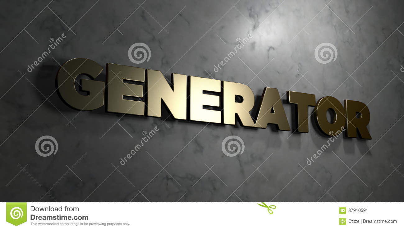 Generator - Gold Text On Black Background - 3D Rendered Royalty Free