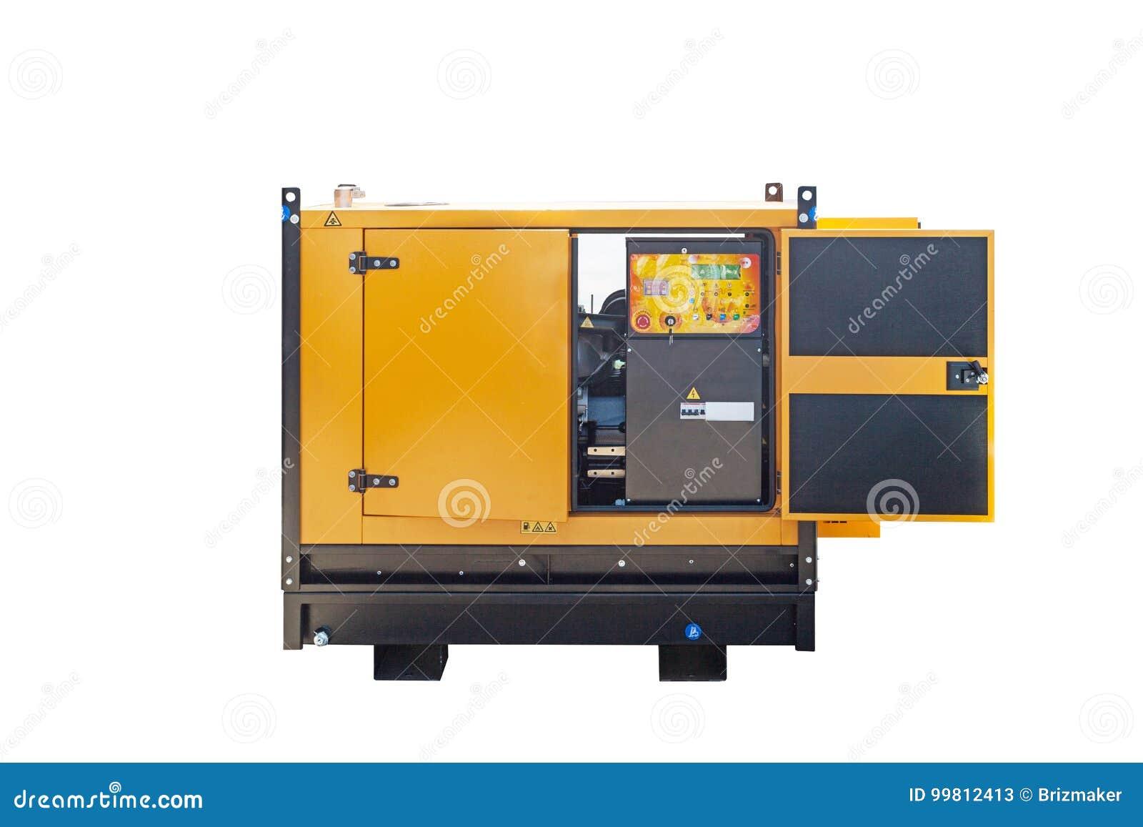Generatore di corrente diesel industriale su fondo bianco