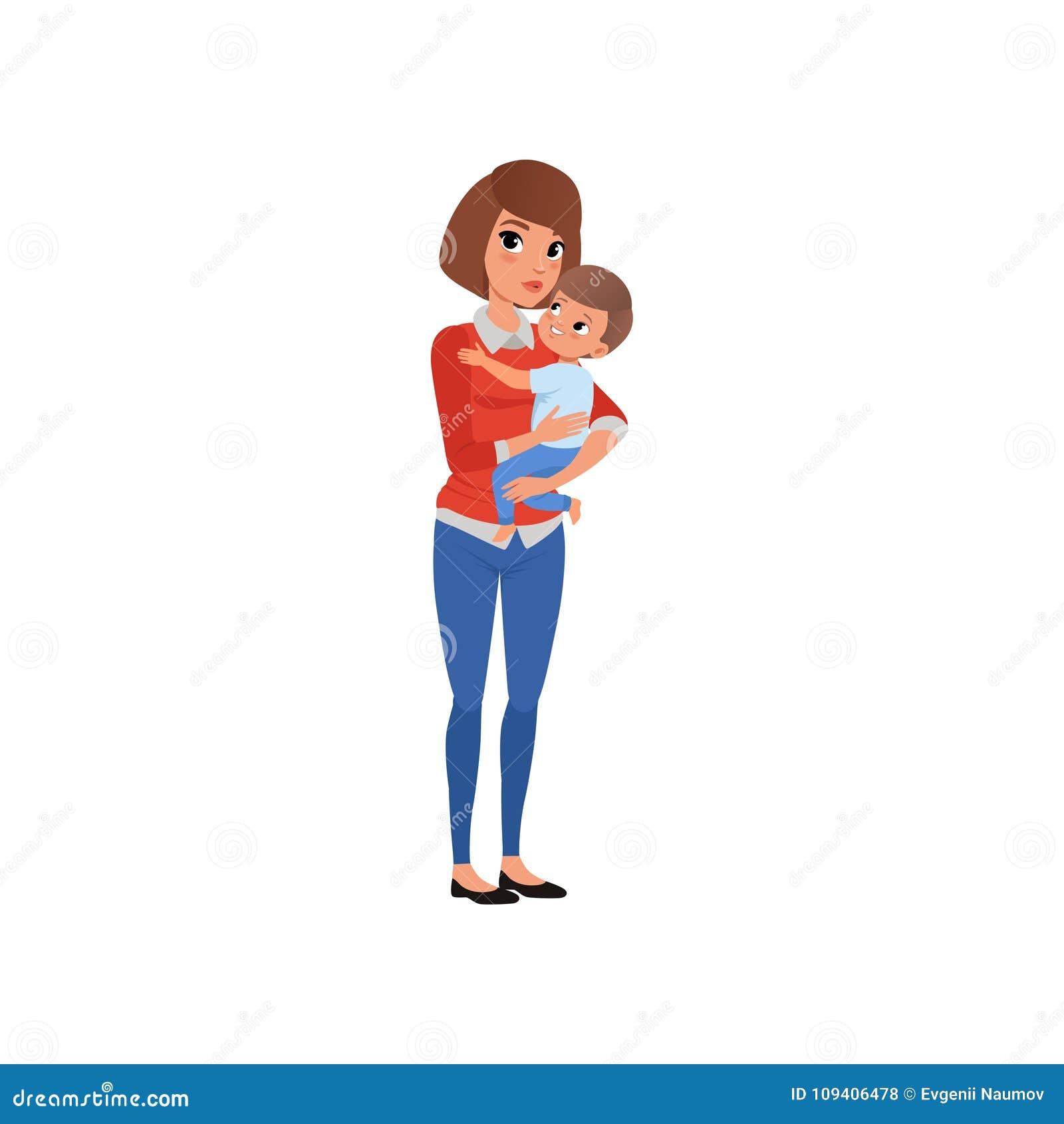 Download Generi La Tenuta Il Suo Bambino Sulle Mani E Labbraccio Mamma