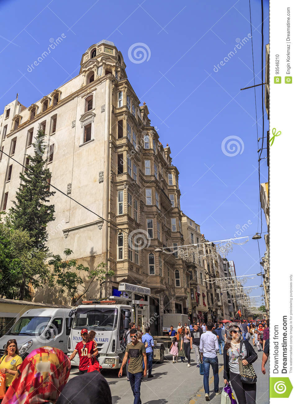 Generic architecture and people walking in Istiklal Caddesi or I