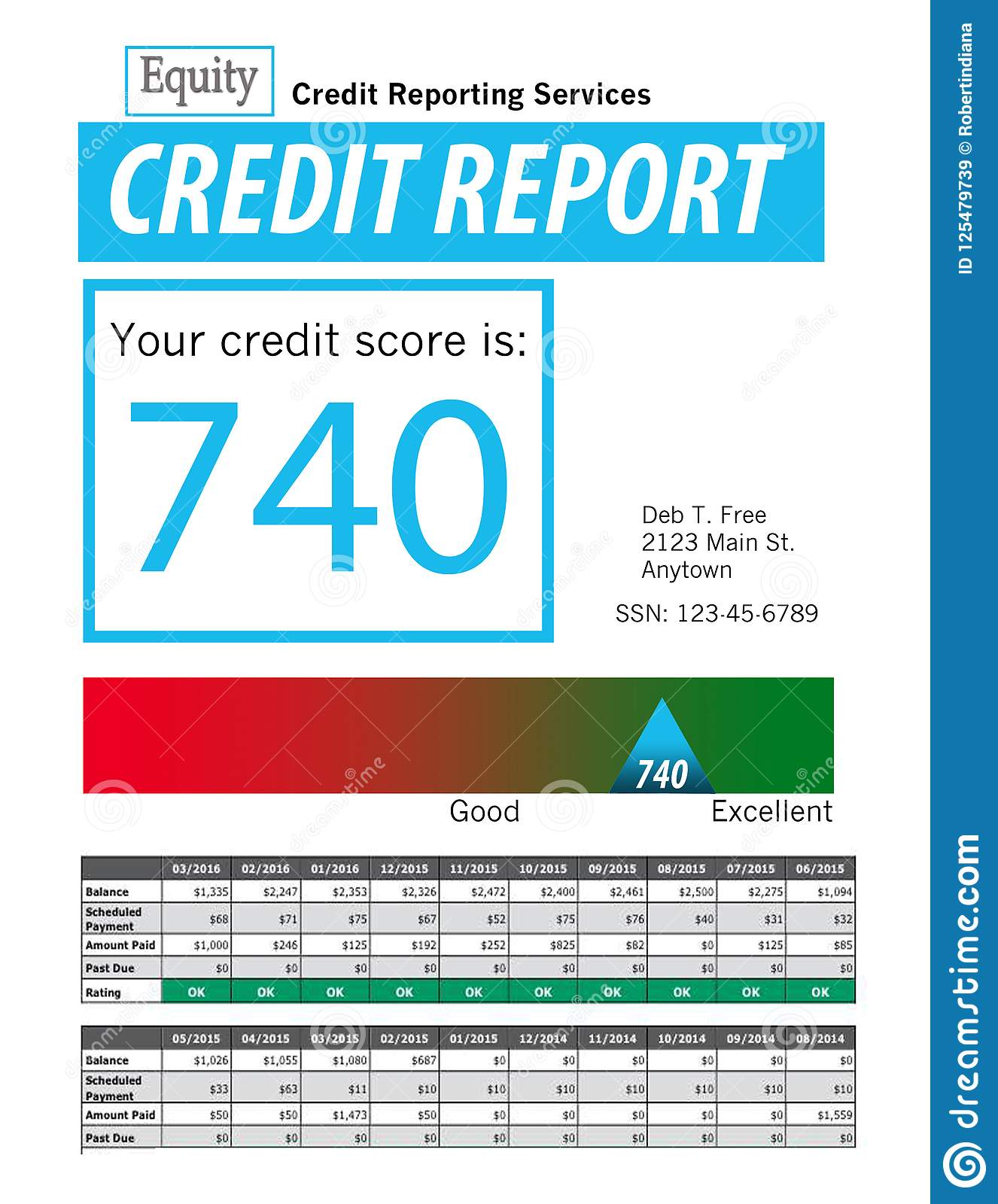 This is a generic copy of a credit report.