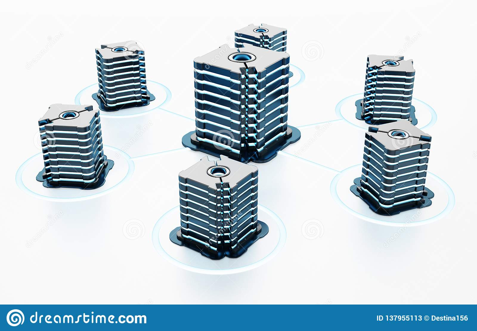 Generic futuristic network servers connected to each other. 3D illustration