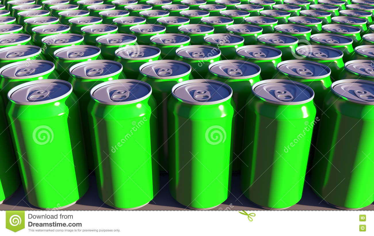 Generic green aluminum cans. Soft drinks or beer production. Recycling packaging. 3D rendering