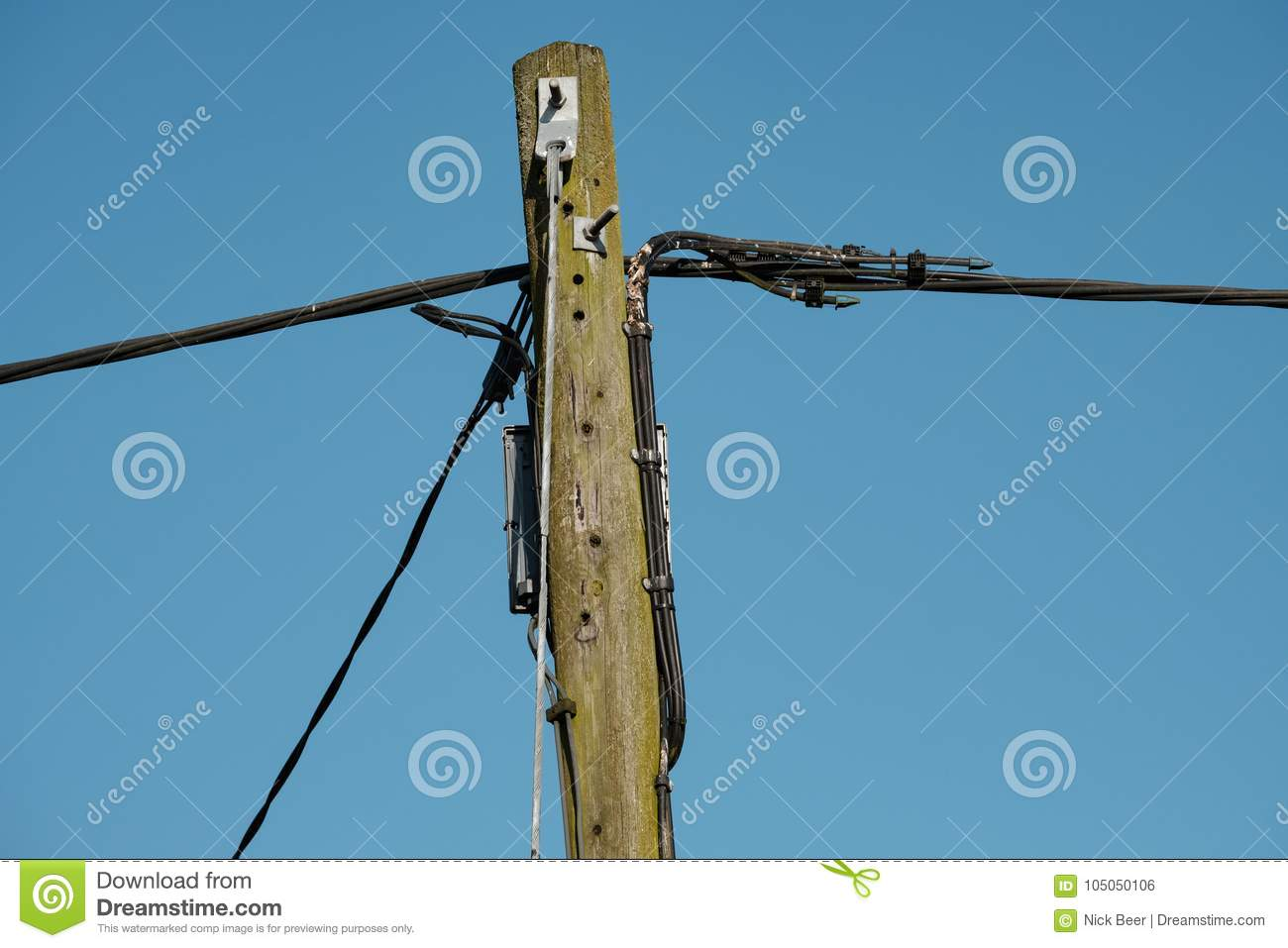 Generic, High Voltage And Telephone Cable System Seen Supported By A ...